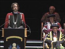 Jarvis Cocker receiving his honorary degree