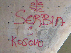 Serb graffiti in northern Mitrovica