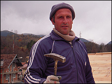 Afrim, an ethnic Albanian builder in Strpce