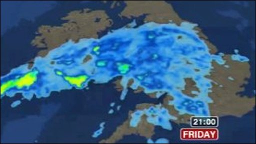 Weather graphic: Heavy rain over south England, the Midlands and all of Wales