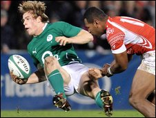 Andrew Trimble feels the force of a Alipate Fatefehi tackle