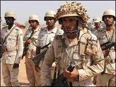 Saudi soldiers enforcing buffer zone in Yemen