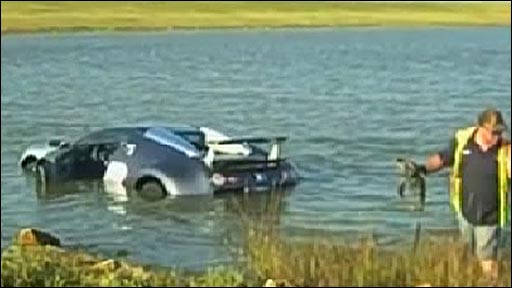 Bugatti Veyron half-submerged in saltwater marsh