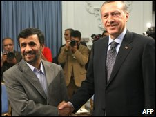 President Mahmoud Ahmadinejad and Turkish Prime Minister Recep Tayyip Erdogan