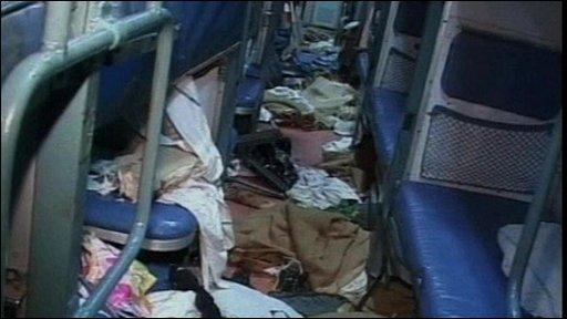 Inside train carriage