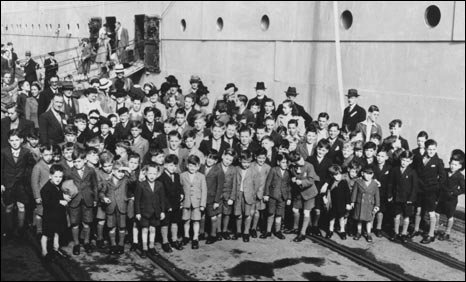 Children waiting outside the SS Asturias