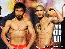Manny Pacquiao (left) and Miguel Cotto