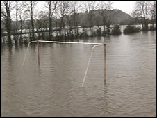 Flooded football pitch at Abergwili, Carmarthenshire