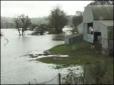 Flooded farmland in Carmarthenshire