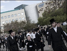 Ultra-Orthodox Jews protest outside Intel offices in Jerusalem