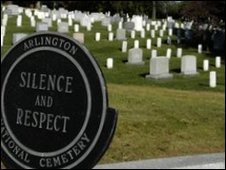 Sign in front of tombstones at Arlington National Cemetery