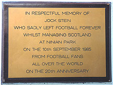 Plaque honouring Jock Stein
