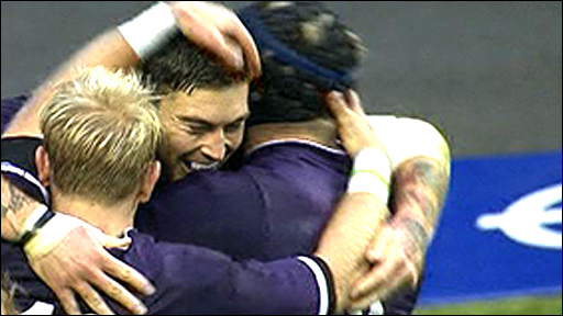 England celebrate Matt Banahan's try