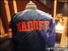 A Bernard Madoff New York Mets baseball jacket displayed in New York, 13 November