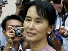 Aung San Suu Kyi at Inya Lake Hotel after meeting US Assistant Secretary of State Kurt Campbell on 4 November 2009