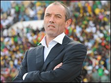 Paul Le Guen watches his side against Morocco