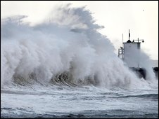 Waves lash a seafront
