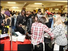Shoppers at Louise Redknapp's stall