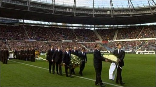 Robert Enke's coffin carried out Hanover Football Stadium