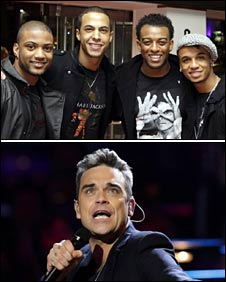 JLS [top] and Robbie Williams