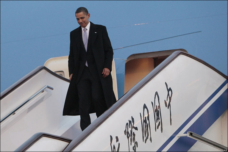 President Barack Obama arriving in Beijing, 16 November 2009