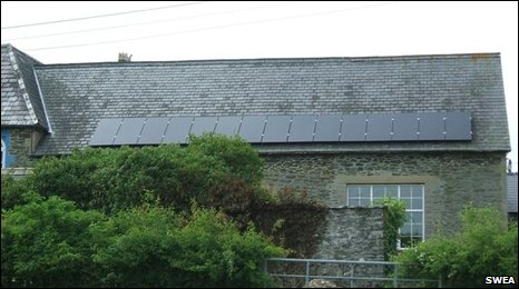 Llanafan Fawr Community Centre and its solar electric panels