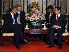 US President Barack Obama meeting Chinese President Hu Jintao