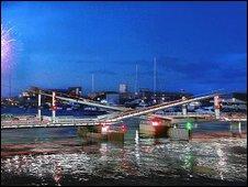 Artist's impression of bridge at night