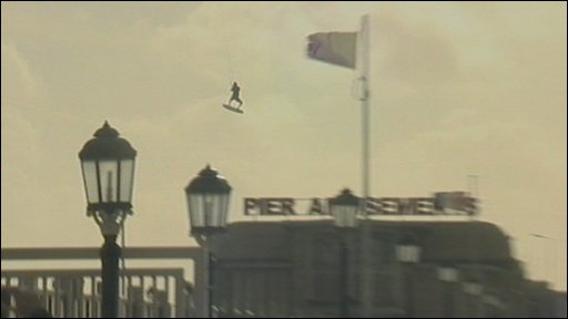 Kite surfer jumping over Worthing pier