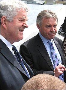 Rhodri Morgan and Ieuan Wyn Jones outside the Senedd