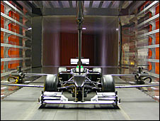 A wind-tunnel model of the new Lotus F1 car