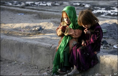 Children in a Kabul slum. File photo