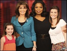 Sarah Palin with daughters Piper and Willow and Oprah Winfrey