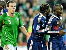 Diarra is led away after Republic defender Richard Dunne confronts the midfielder