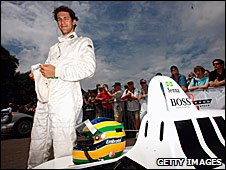 Bruno Senna prepares to drive his uncle's 1988 McLaren at the Goodwood Festival of Speed