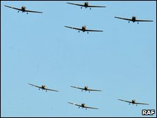 Eight aircraft took off from RAF Barkston Heath