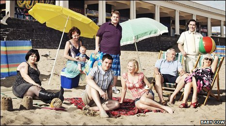 Cast of Gavin & Stacey on the beach at Barry Island