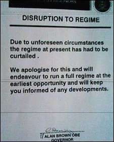 Notice posted to prisoners