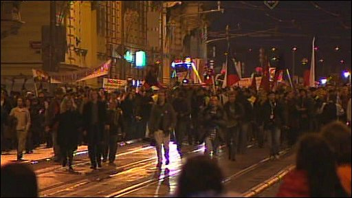 Marchers in Prague