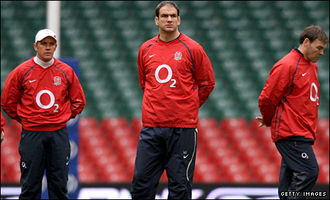 England attack coach Brian Smith, head coach Martin Johnson and forwards coach John Wells