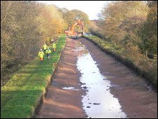 The canal breach left a four mile stretch dry