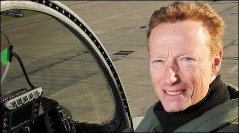 Flight Lieutenant Antony Parkinson with a Typhoon aircraft