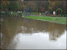 Flooding at Nuttall Park, Ramsbottom
