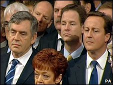 Gordon Brown, Nick Clegg and David Cameron at Queen's Speech 2009