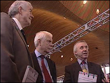 Rhodri Morgan, Sir Emyr Jones Parry and Ieuan Wyn Jones at the Senedd