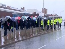 Officers on a picket line outside HMP Liverpool