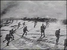 Artist's illustration of Bill Millin at Sword Beach