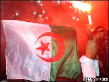 Algerian fans celebraing
