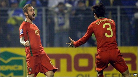 Jose Raul Meireles (left) celebrates scoring for Portugal