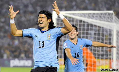 Sebastian Abreu celebrates putting Uruguay ahead